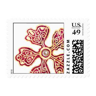 Baroque Flower Stamp-Ruby Postage Stamp