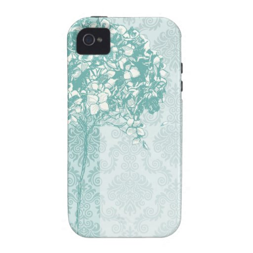 Baroque Flowerball designer - teal iPhone 4 Cover