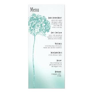 Baroque Flowerball Dinner Menu - teal 4x9.25 Paper Invitation Card