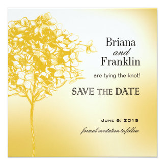 Baroque Flowerball Save the Date gold 5.25x5.25 Square Paper Invitation Card