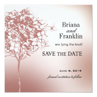 Baroque Flowerball Save the Date mulberry 5.25x5.25 Square Paper Invitation Card