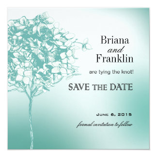 Baroque Flowerball Save the Date teal 5.25x5.25 Square Paper Invitation Card