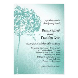 Baroque Flowerball Wedding teal 5x7 Paper Invitation Card