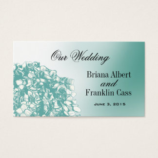 Baroque Flowerball Wedding Website - teal Business Card