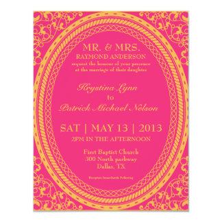 Baroque Fluorescent / Neon Wedding Invitations