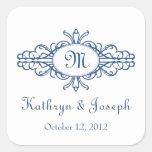 Baroque frame mongram navy blue wedding favor tag square sticker