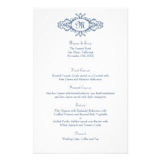 Baroque frame monogram navy blue wedding menu card