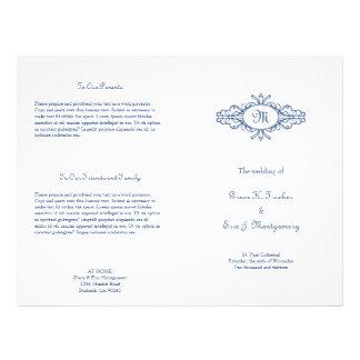 Baroque frame monogram navy blue wedding program
