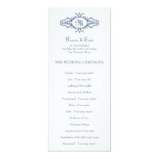 Baroque frame monogram navy blue wedding program 4x9.25 paper invitation card