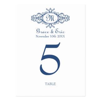 Baroque frame monogram wedding table number card
