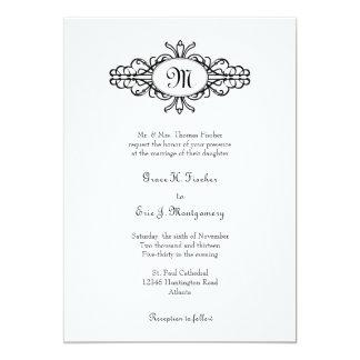 Baroque frame single monogram black white wedding personalized invite
