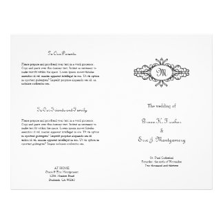 "Baroque frame single monogram wedding program 8.5"" x 11"" flyer"
