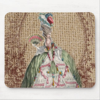 baroque french country burlap Marie Antoinette Mouse Pad