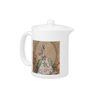 baroque french country burlap Marie Antoinette Teapot