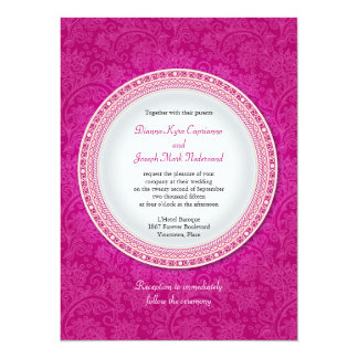 Baroque Fuchsia Plaque Wedding Invitation
