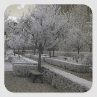Baroque garden/infrared photography square sticker