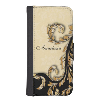 Baroque Gold Swirls Personalized iPhone SE/5/5s Wallet