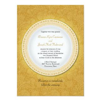 Baroque Golden Plaque Wedding Invitation