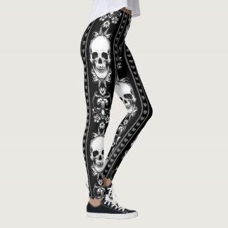 Baroque Gothic Skull Stripe Leggings