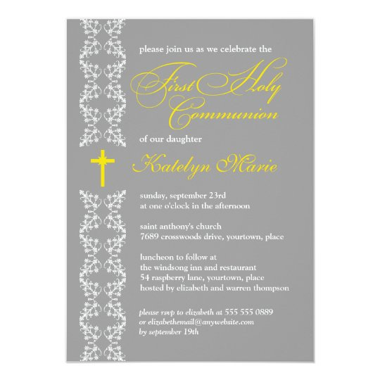 Baroque Gray Strip First Holy Communion Card