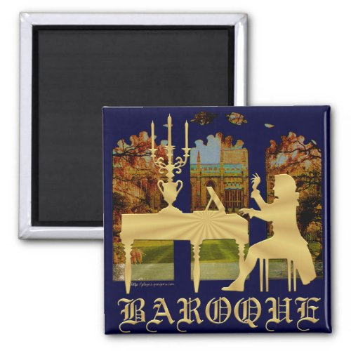 Baroque Harpsichord 2-inch Square Magnet