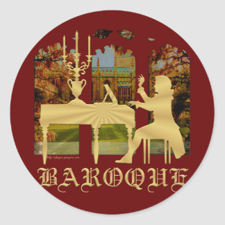 Baroque harpsichord round sticker
