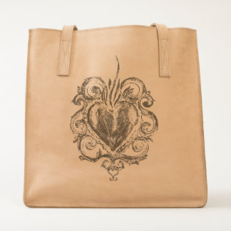 Baroque Heart Leather Tote