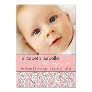 Baroque in Pink Baby Girl Photo Announcement