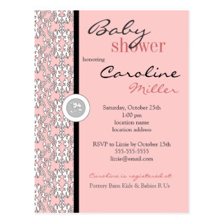 Baroque in Pink Baby Shower Invitation Postcard