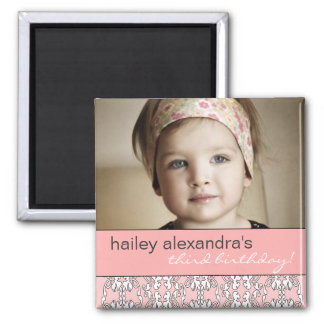 Baroque in Pink Birthday Photo Magnet