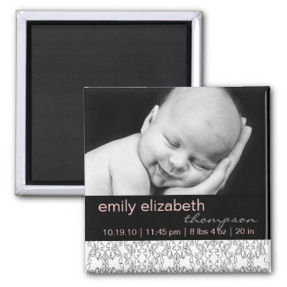 Baroque in White Baby Girl Photo Magnet