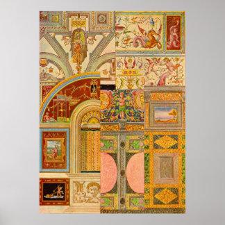 baroque Italian motifs collage Poster