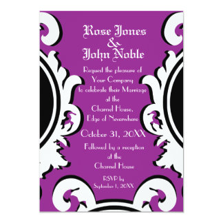 Baroque Ivory (Purple) Wedding Invitation