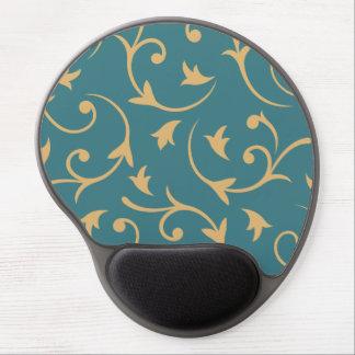 Baroque Large Design Teal & Gold Gel Mouse Pad