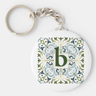 Baroque Letter B Basic Round Button Keychain