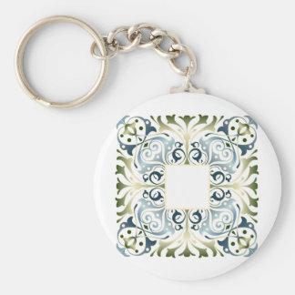 Baroque Letter Blank background Basic Round Button Keychain