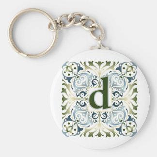 Baroque Letter D Basic Round Button Keychain