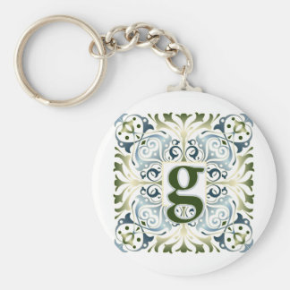 Baroque Letter G Basic Round Button Keychain