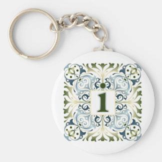 Baroque Letter I Basic Round Button Keychain
