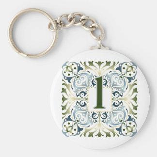 Baroque Letter L Basic Round Button Keychain