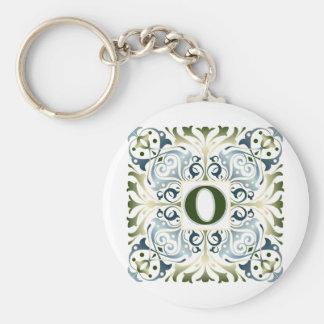 Baroque Letter O Basic Round Button Keychain