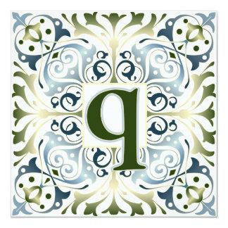 Baroque Letter Q Card