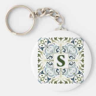 Baroque Letter S Basic Round Button Keychain