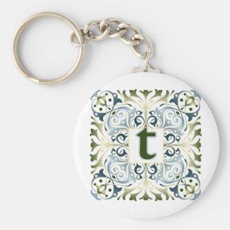 Baroque Letter T Basic Round Button Keychain