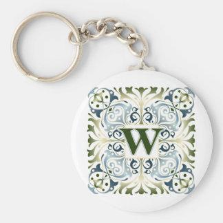 Baroque Letter W Basic Round Button Keychain