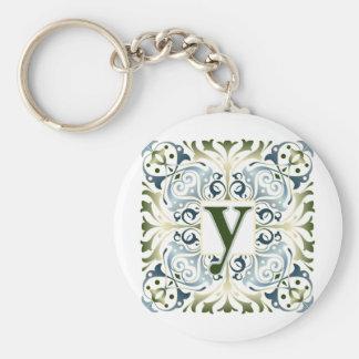 Baroque Letter Y Basic Round Button Keychain