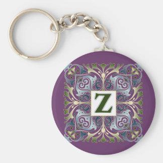 Baroque Letter Z Basic Round Button Keychain