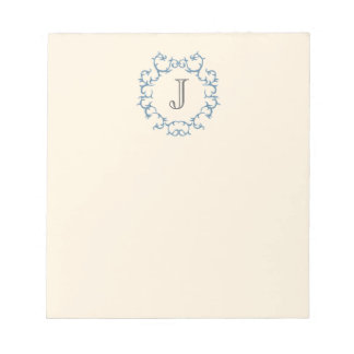 Baroque Monogram - Blue Notepad
