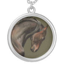 Baroque Morgan Horse Silver Plated Necklace