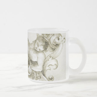 Baroque ornament frosted glass coffee mug